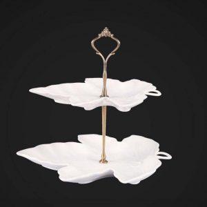 شیرینی خوری دو طبقه طرح برگ گلدکیش Gk600734 Elegant