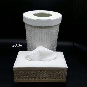 سطل و جا دستمال گرد چرم (کد 20036 )