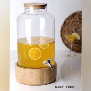 کلمن شیشه ایی استوانه پایه چوبی (کد 11051)