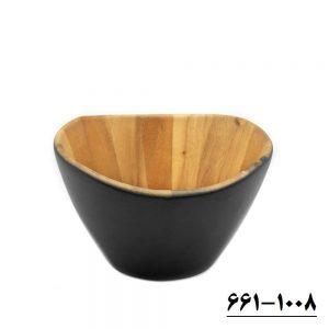 سالاد خوری چوبی متوسط لبه موجدار کد 1008