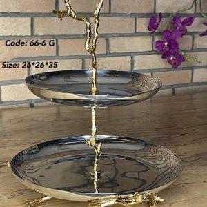 شیرینی دو طبقه استیل و پرنده طلایی 6-66