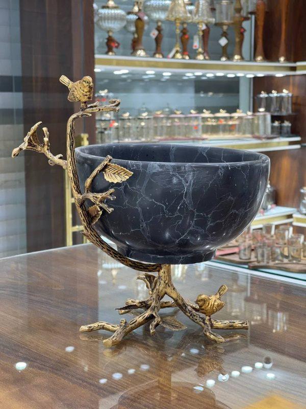 آجیل خوری سنگ و پرنده برنجی در سه رنگ