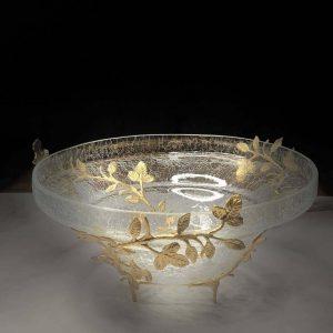 میوه خوری آلومینیوم و شیشه در دو رنگ طلایی و نقره ای کد 7001
