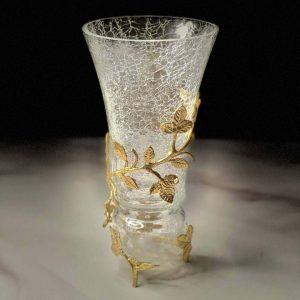 گلدان آلومینیوم و شیشه در دو رنگ طلایی و نقره ای کد 7003