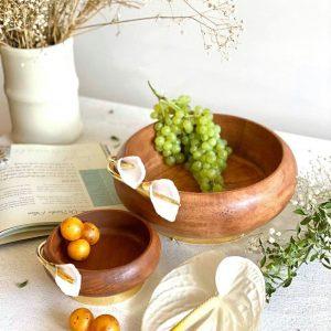 میوه خوری چوب و گل شیپوری برنجی 01050002232