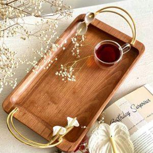 سینی چوب و گل شیپوری برنجی 01050002510